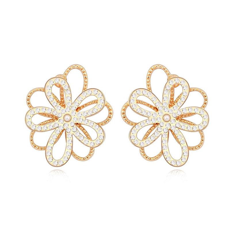 Boucles d'oreilles dorées or jaune, cristal Swarovski , Anais