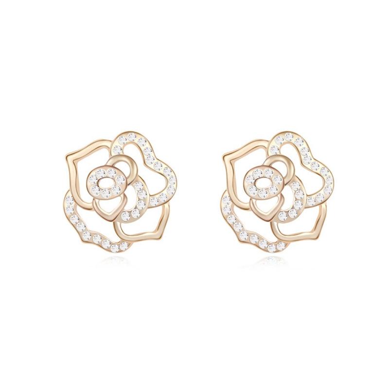 Boucles d'oreilles dorées or jaune, cristal Swarovski , Rose