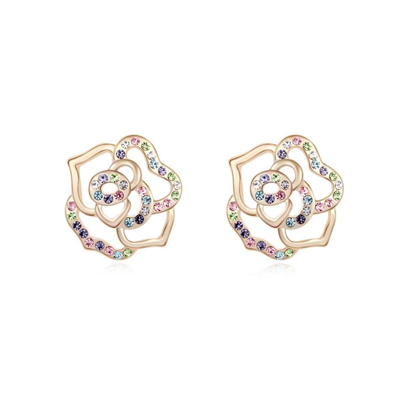 Boucles d'oreilles dorées or jaune, cristal Swarovski , Delight