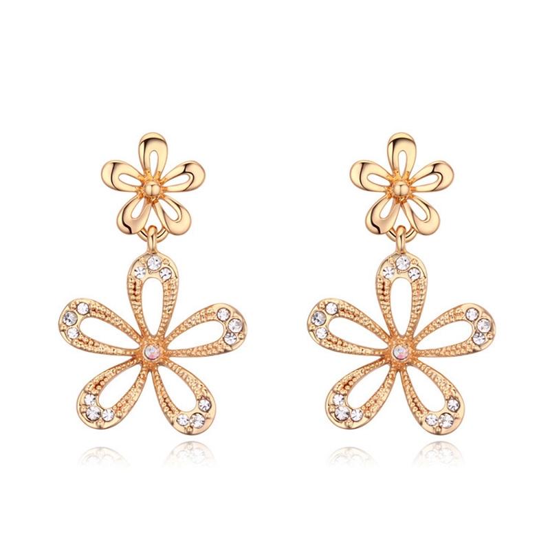 Boucles d'oreilles dorées or jaune, cristal Swarovski , Estelle