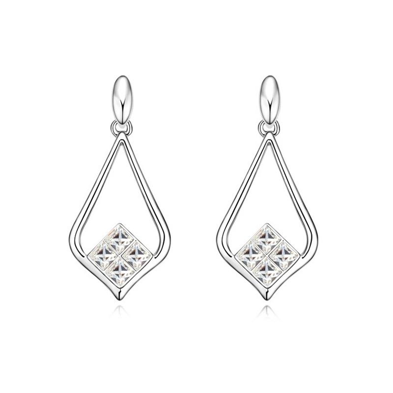 Boucles d'oreilles rhodiées, cristal Swarovski , Victoria