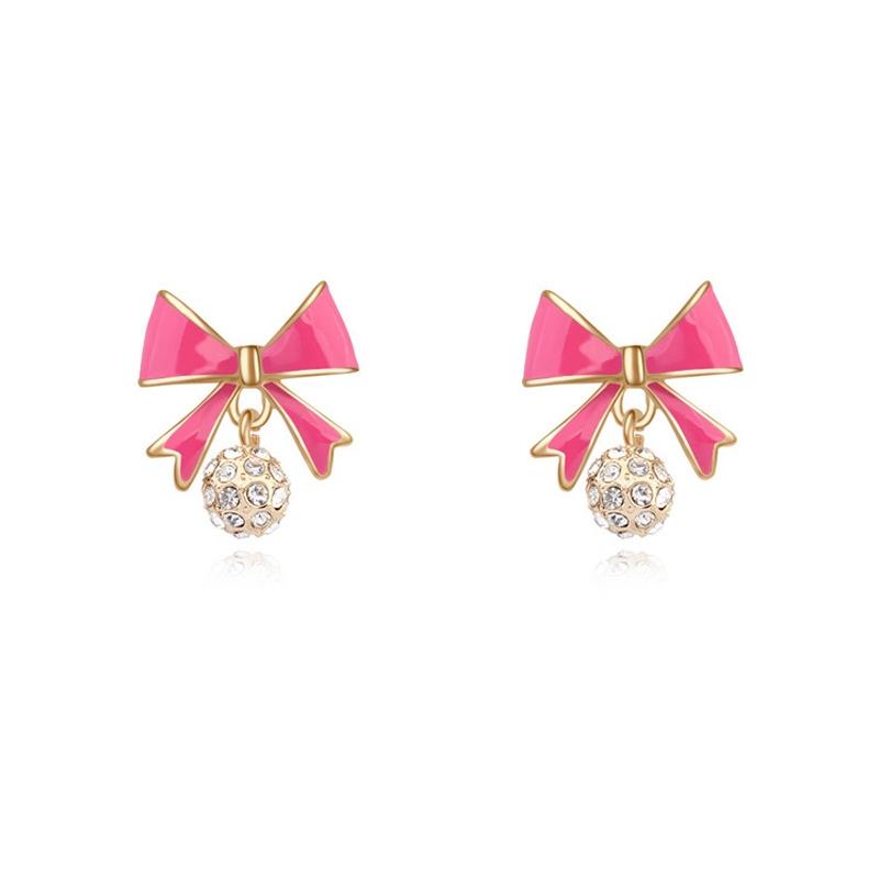 Boucles d'oreilles dorées or  jaune, Email et cristal Swarovski, Pink Knot