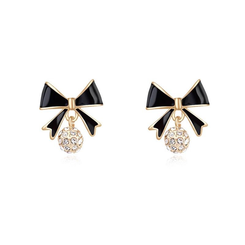 Boucles d'oreilles dorées or jaune, Email et cristal Swarovski , Black Knot