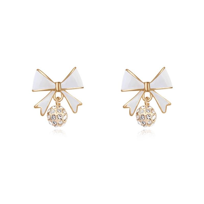 Boucles d'oreilles dorées or  jaune, Email et cristal Swarovski, White Knot