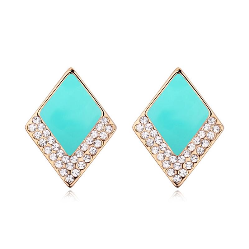 Boucles d'oreilles dorées or  jaune, Email et cristal Swarovski, Fashionista