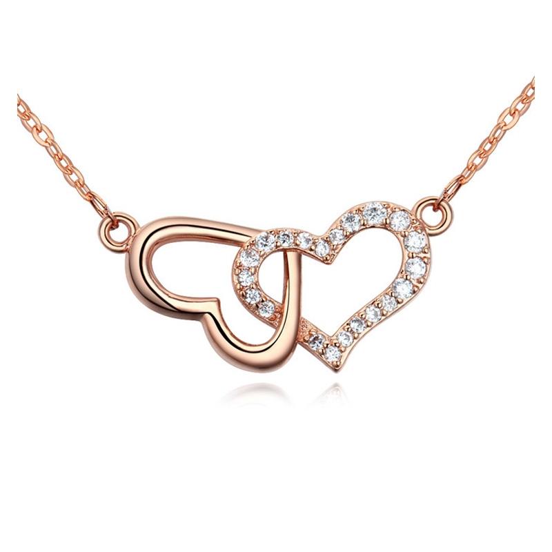 Collier doré or rose, oxydes de zirconium , Romance