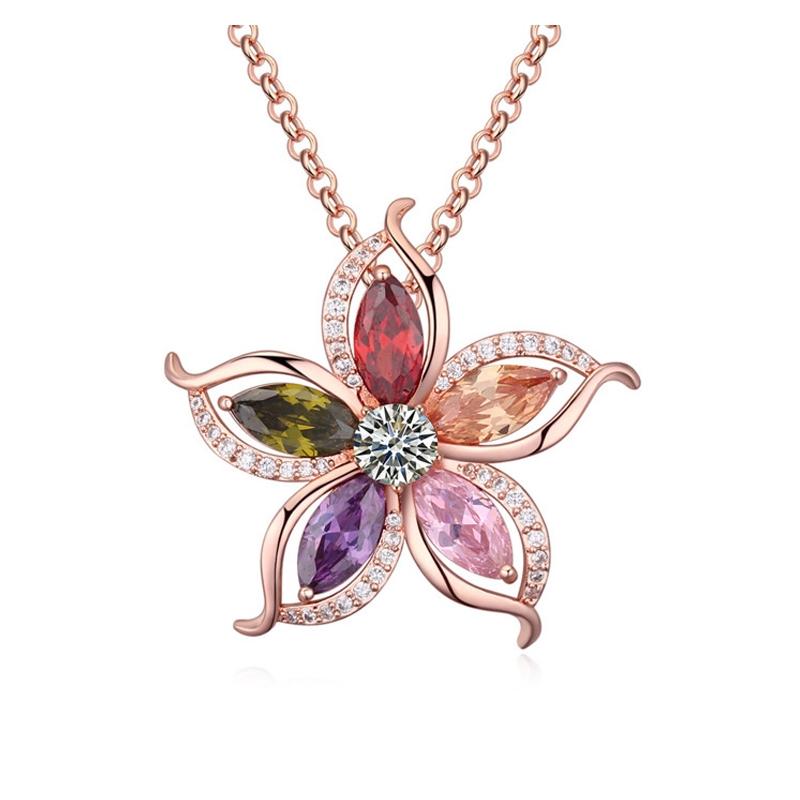 Collier plaqué or rose, cristal Swarovski , Turenne