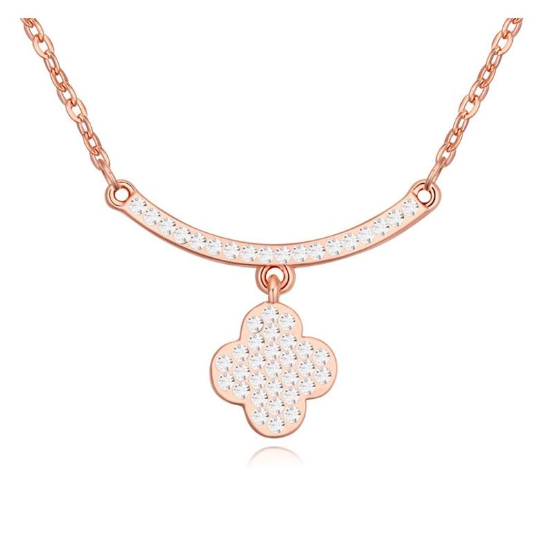 Collier plaqué or rose, cristal Swarovski , Trefle
