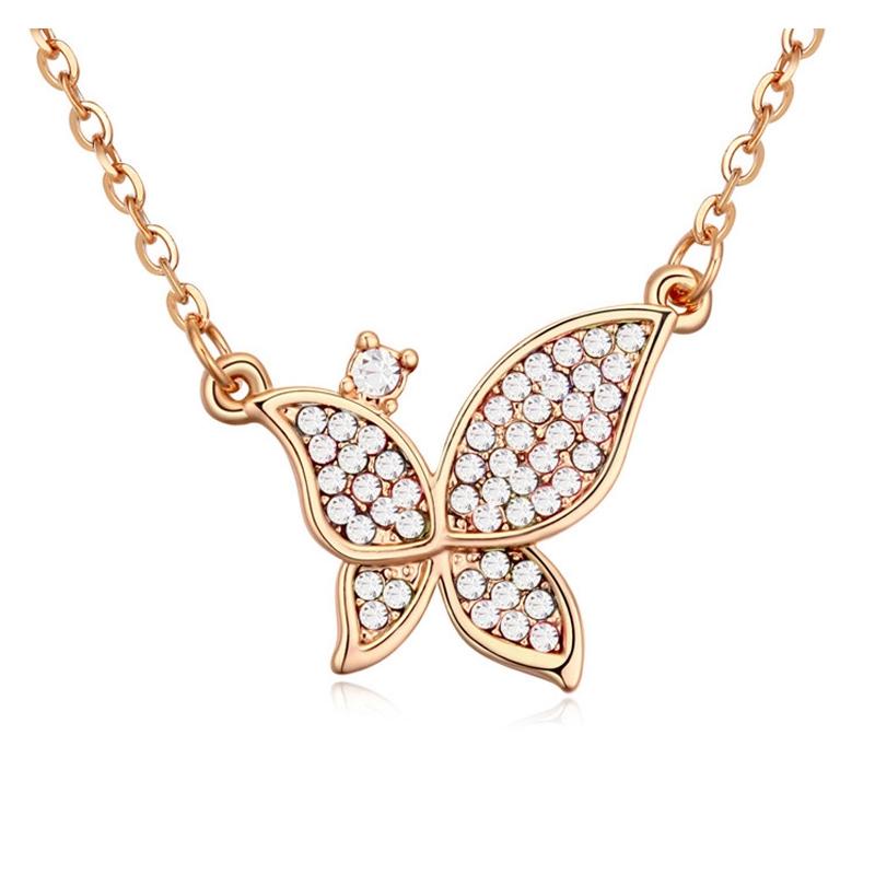Collier plaqué or rose, cristal Swarovski , Papillon