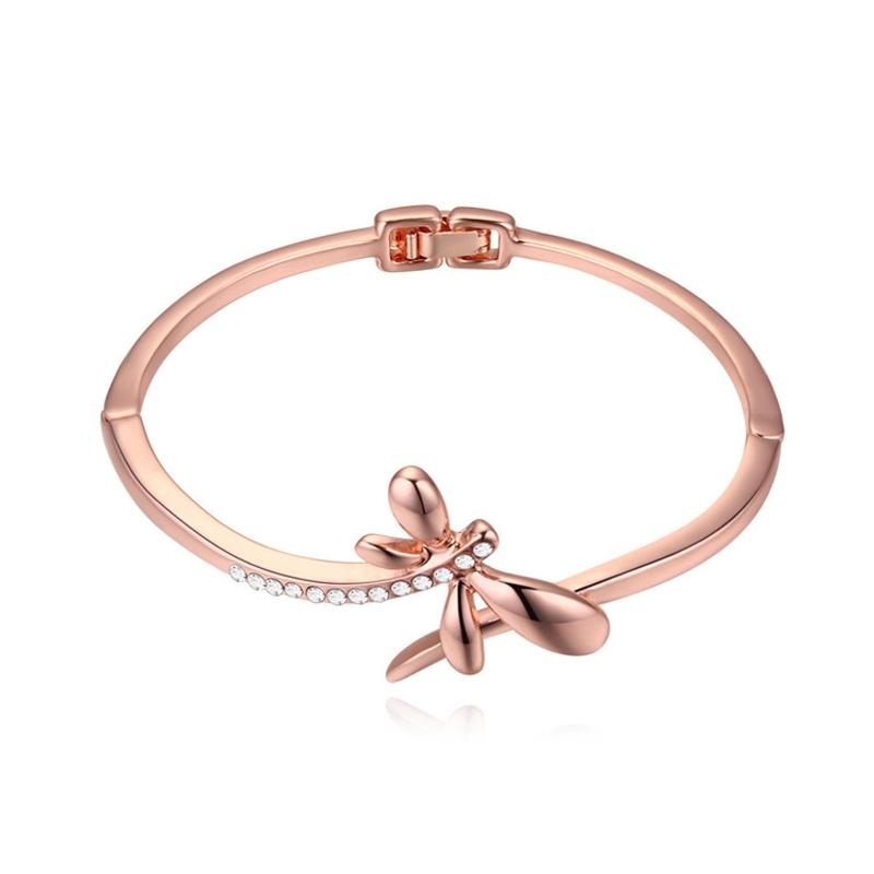 Bracelet jonc doré or rose, cristal Swarovski , Trinity