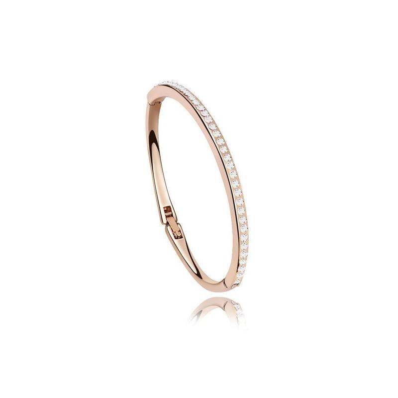 Bracelet jonc doré or rose, cristal Swarovski , Eterna