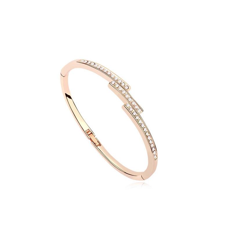 Bracelet jonc doré or rose, cristal Swarovski , Gaia