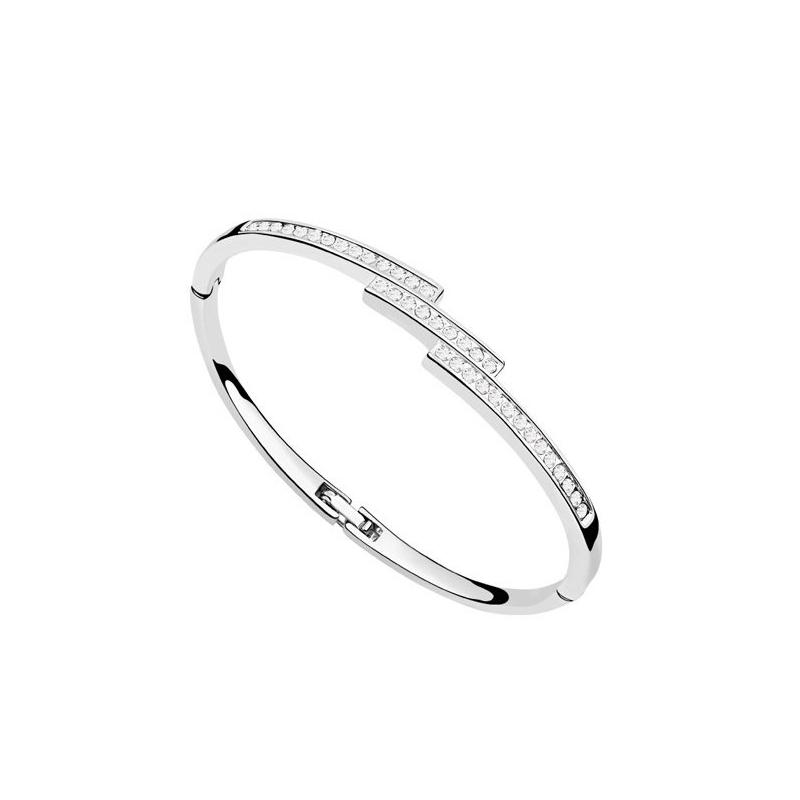 Bracelet jonc rhodié, cristal Swarovski , Gaia