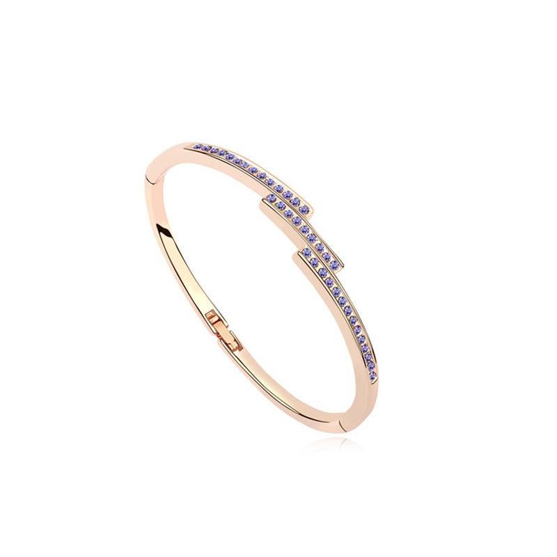 Bracelet jonc doré or rose, cristal Swarovski , Gaia Lavande