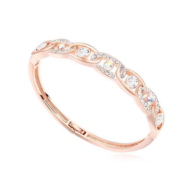 Bracelet jonc doré or rose, cristal Swarovski , Julia