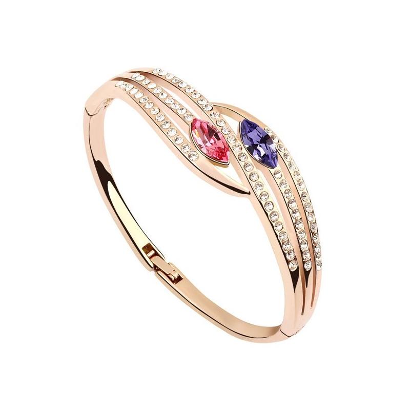 Bracelet jonc doré or rose, cristal Swarovski , Stella