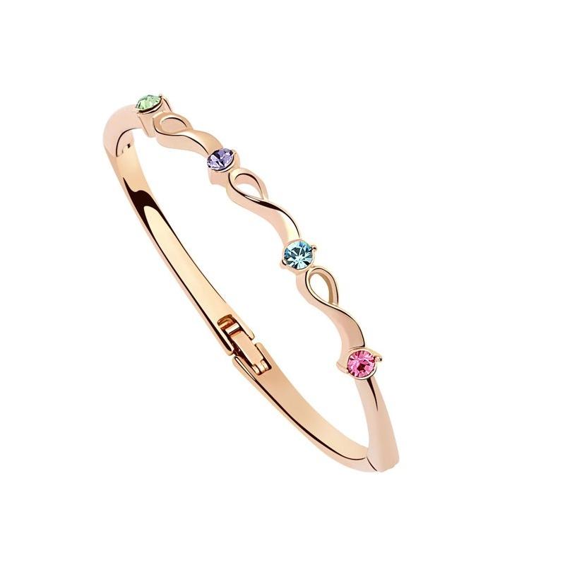 Bracelet jonc doré or rose, cristal Swarovski , Angéle