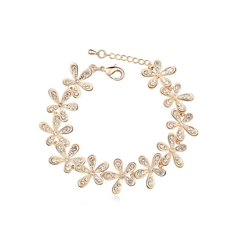 Bracelet doré or jaune, cristal Swarovski , Flora