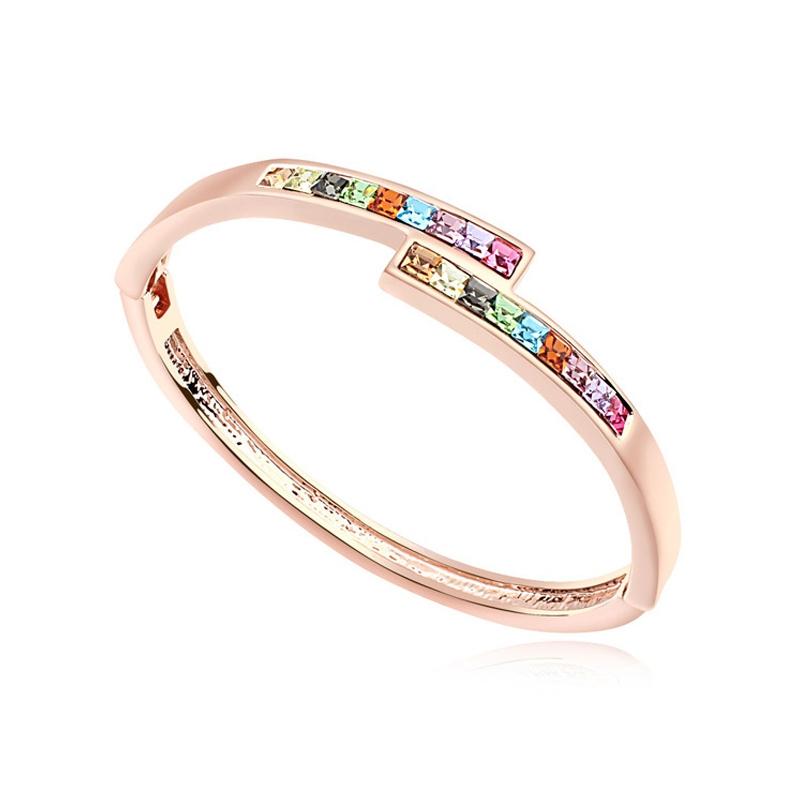 Bracelet jonc doré or rose, cristal Swarovski , Golda
