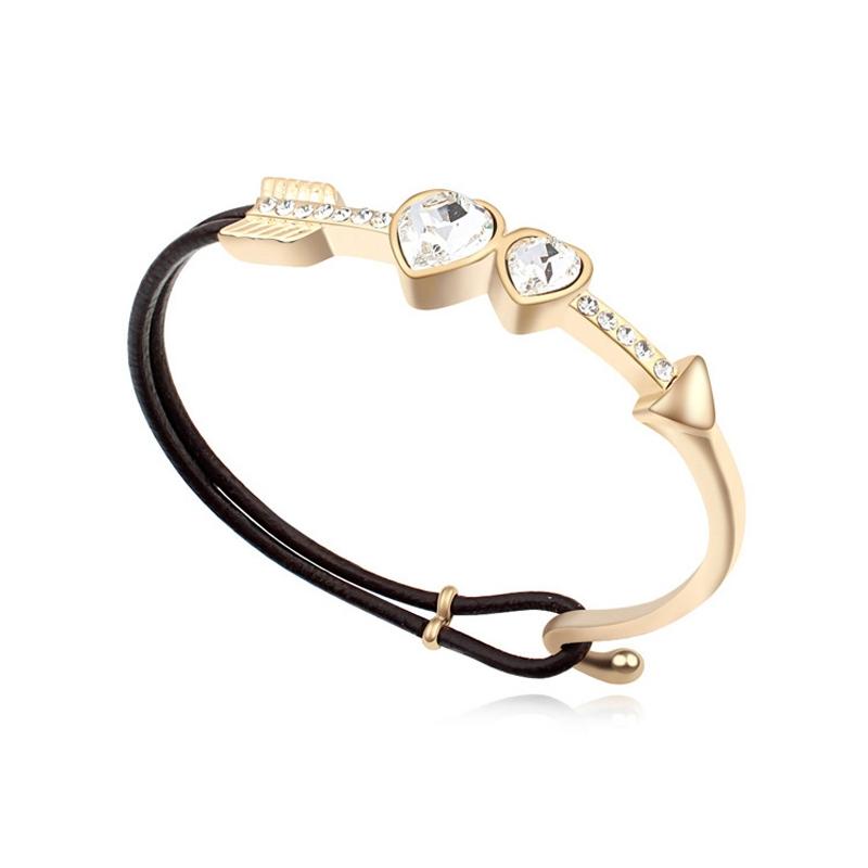 Bracelet demi-jonc doré or jaune, cristal Swarovski , Svenska