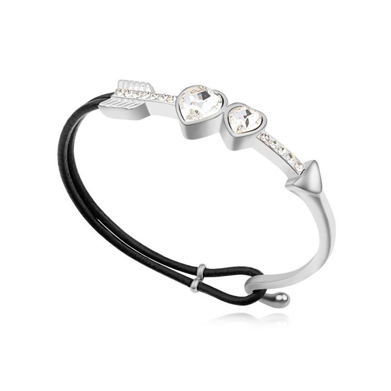 Bracelet demi-jonc rhodié, cristal Swarovski , Svenska