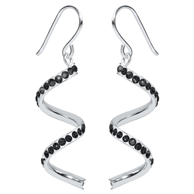 Boucles d'oreilles en argent, cristal Swarovski, Torsades