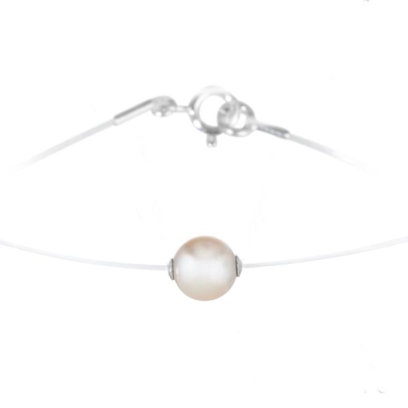 Collier nylon et argent, perle Swarovski , Thalia