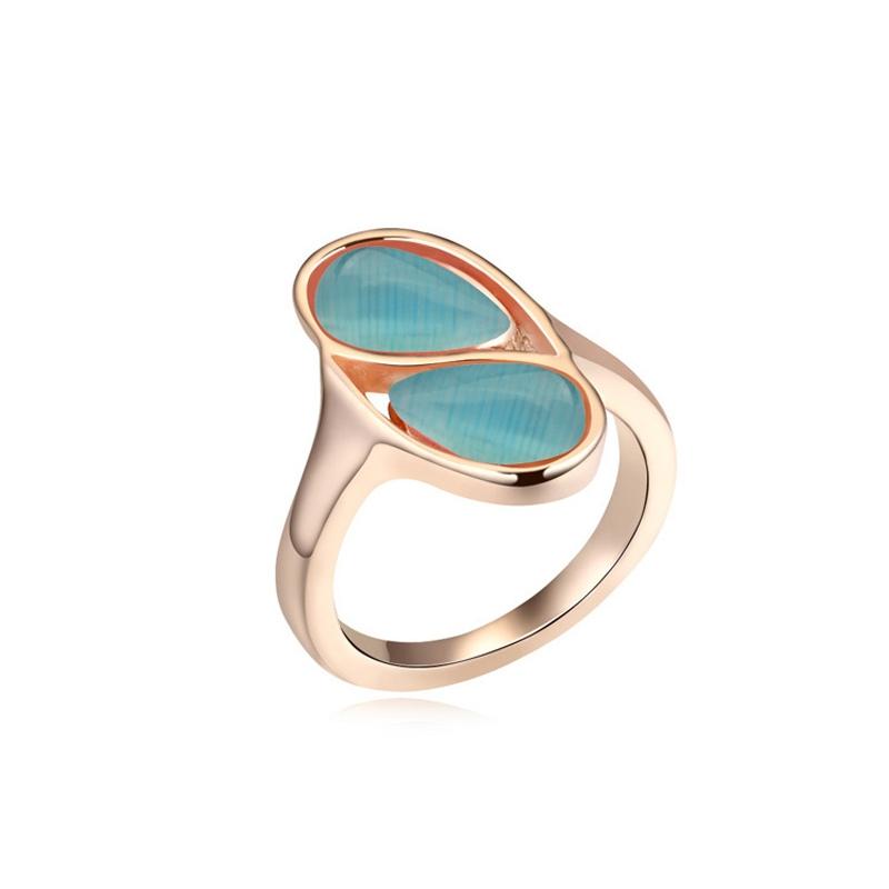 Bague dorée or rose, cristal Swarovski et Opale, Blue Carioca
