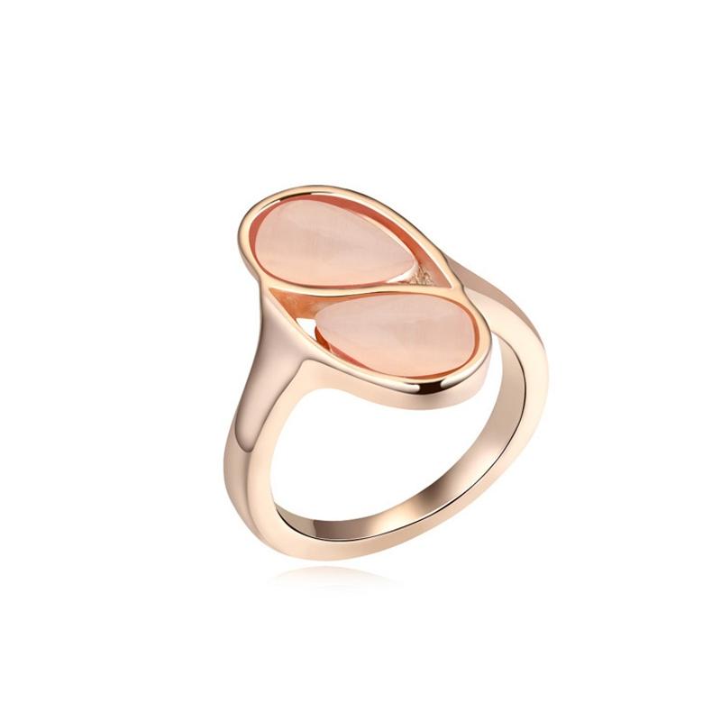 Bague dorée or rose, cristal Swarovski et Opale, Pink Carioca