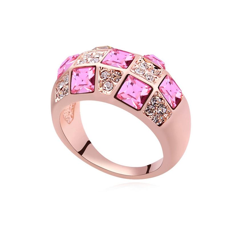 Bague dorée or rose, cristal Swarovski, Pink Paradise