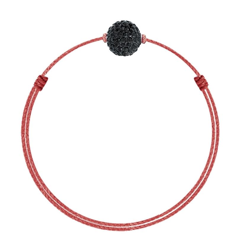 Bracelet coton ciré Mokuba, argent, cristal Swarovski, Crystal Glam Rouge Noir