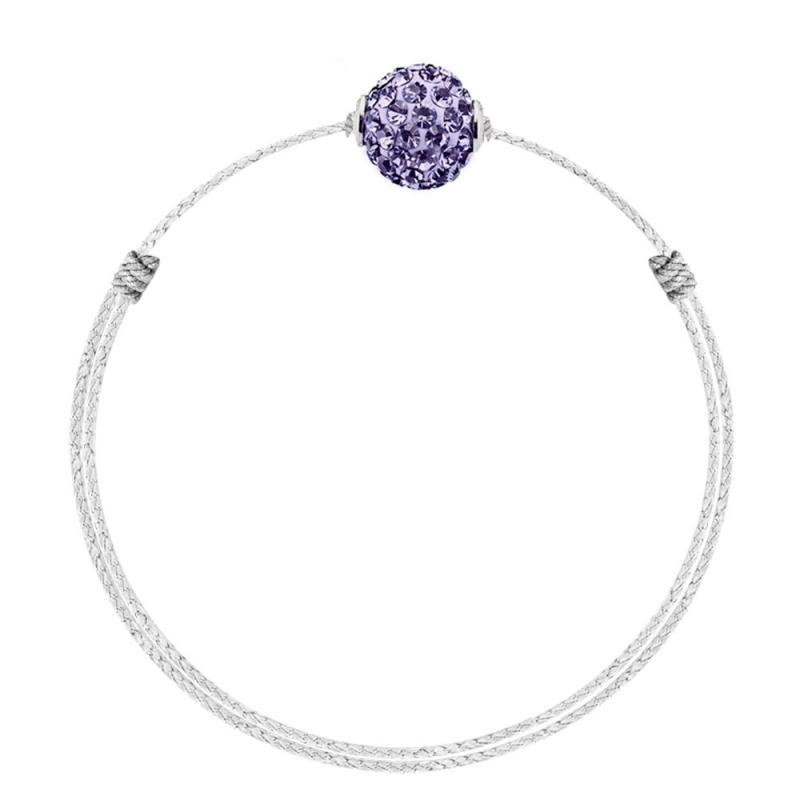 Bracelet coton ciré Mokuba, argent, cristal Swarovski, Crystal Glam Violet Blanc