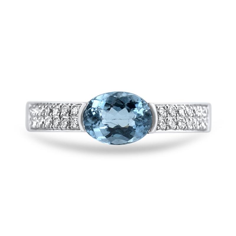 18k White Gold Aquamarine and Diamond Ring, Rosamund