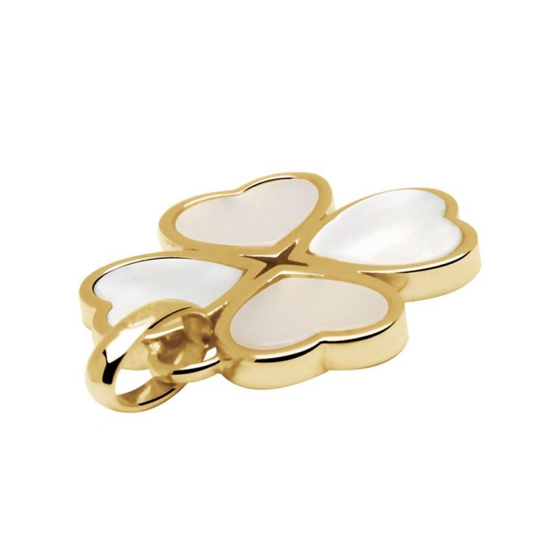 Collier en or blanc trois motifs, Nacre naturelle , Meylia