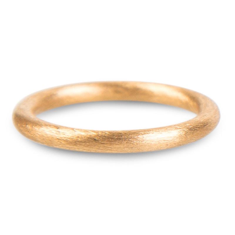 18k Scratched Rose Gold Wedding Ring, Sasha