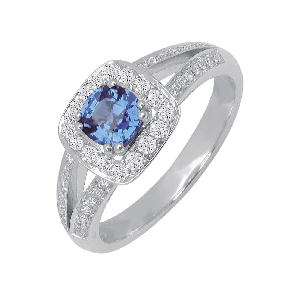 Coussin Or Blanc Saphir de Ceylan Diamants