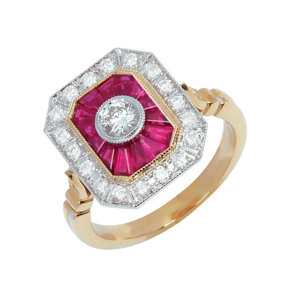 Emporia bague or jaune 18 carats rubis et diamants Diveene joaillerie