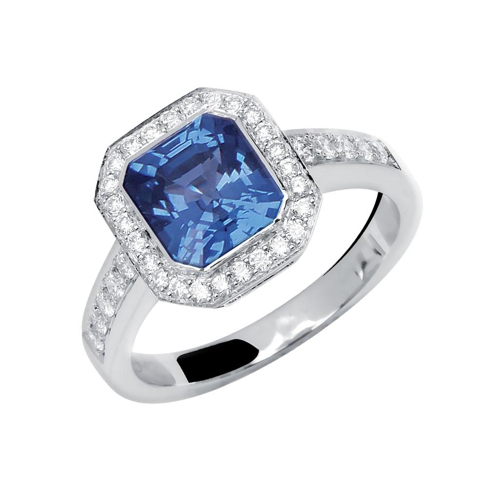 Tsarine bague or blanc 18 carats saphir de ceylan et diamants Diveene joaillerie