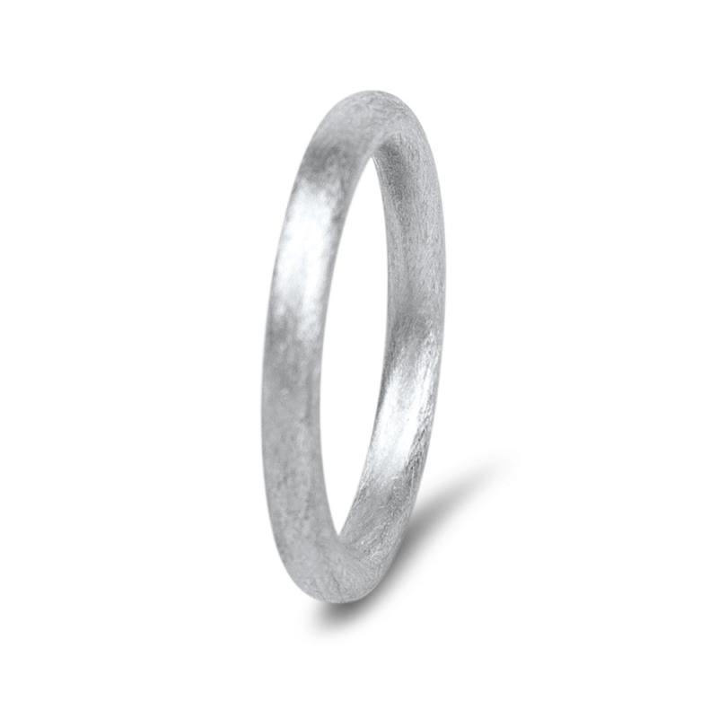 18k Scratched White Gold Wedding Ring, Sasha