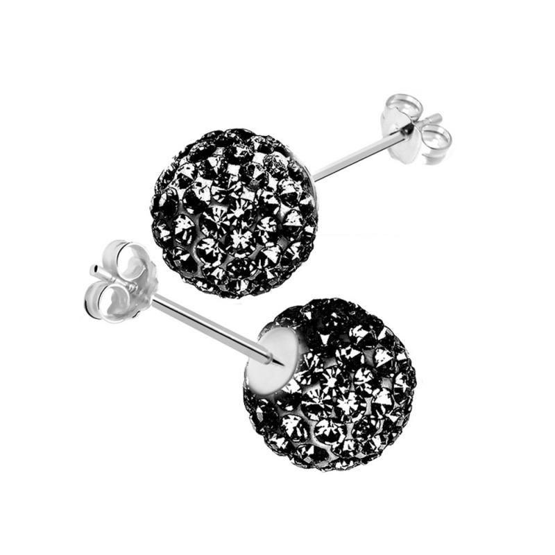 Boucles d'oreilles en argent, cristal Swarovski , CRYSTAL GLAM BLACK DIAMOND
