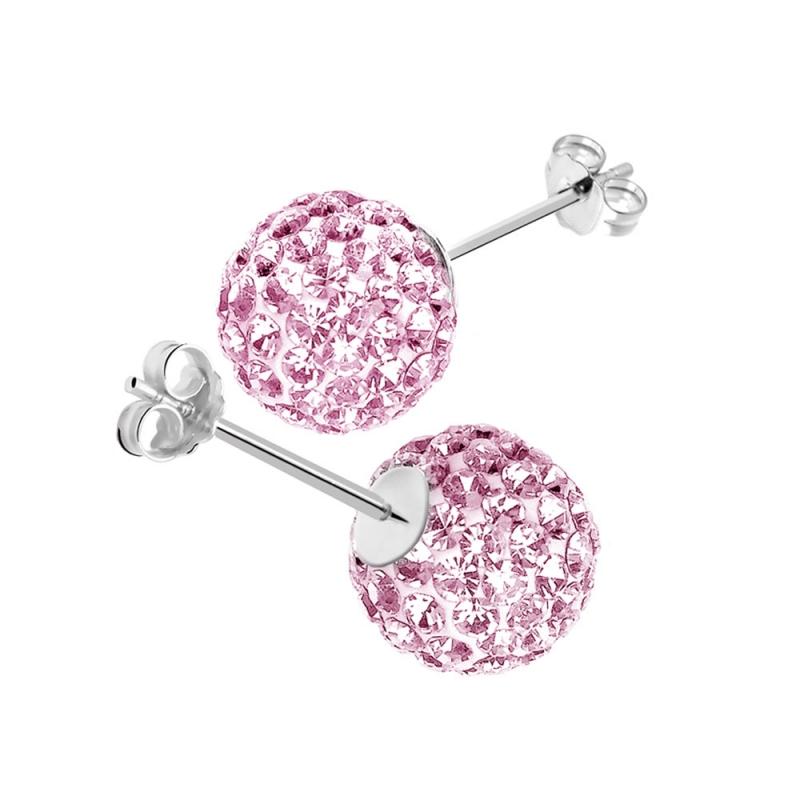 Boucles d'oreilles en argent, cristal Swarovski , CRYSTAL GLAM ROSE