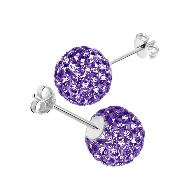 Boucles d'oreilles en argent, cristal Swarovski , CRYSTAL GLAM VIOLET