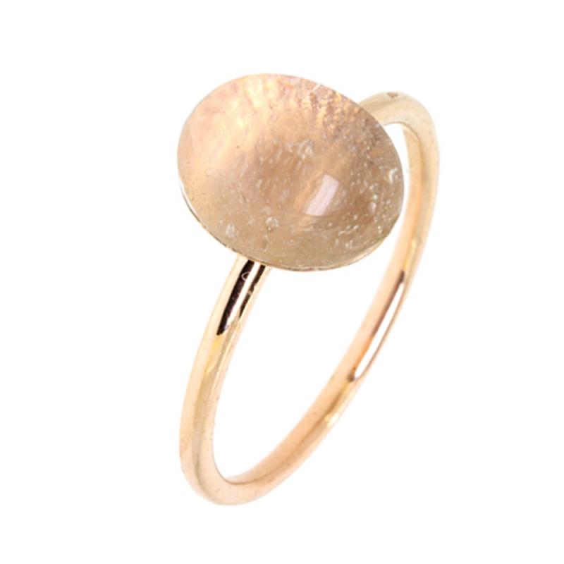 Yellow Gold Vermeil Pink Quartz Ring , Estella