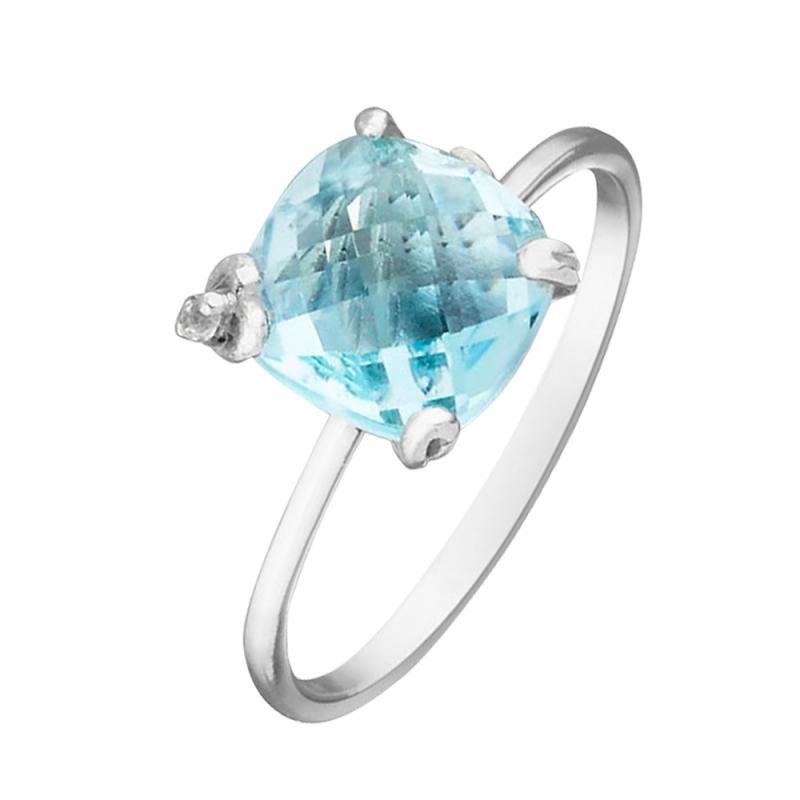 Silver Blue Topaz Ring , Heidi