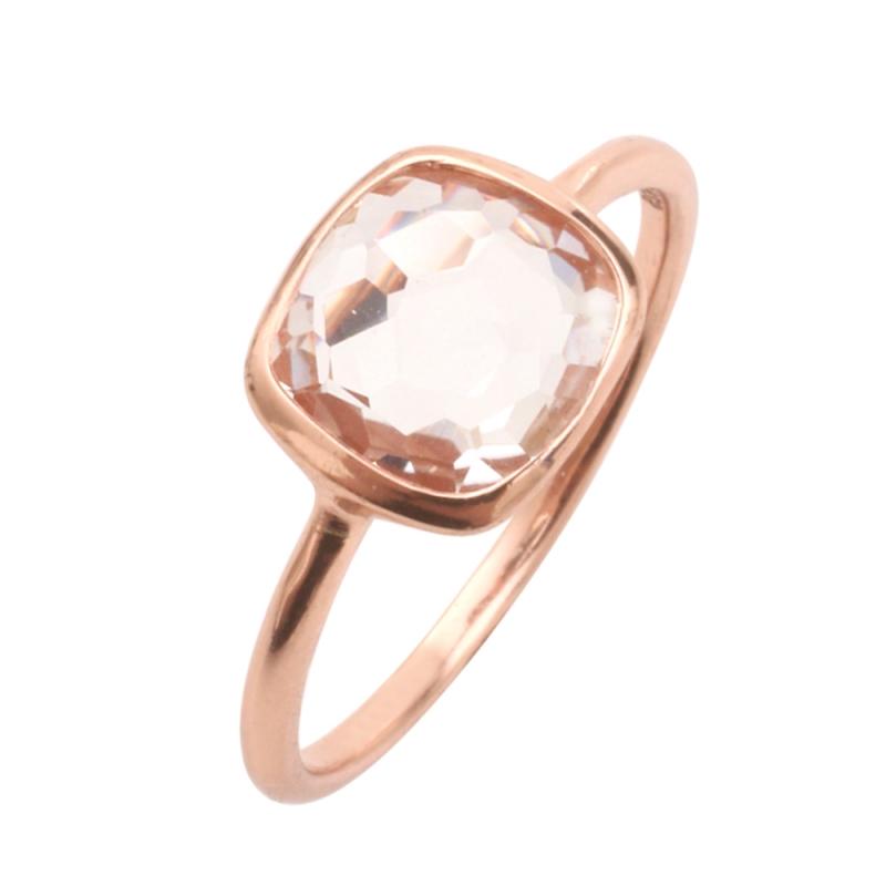 Rose Gold Vermeil White Quartz Ring , Paola