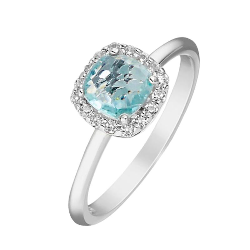 Silver Blue Topaz Ring , Galia