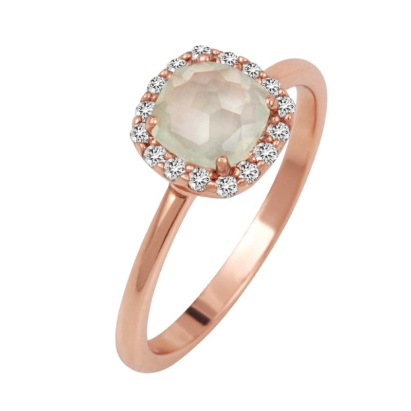 Rose Gold Vermeil Prehnite Ring , Galia