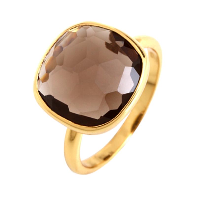 Yellow Gold Vermeil Smoky Quartz Ring , Bruna