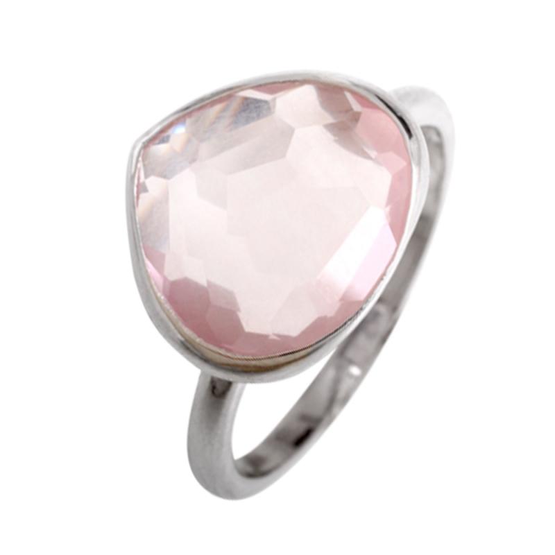 Silver Pink Quartz Ring , Faeza