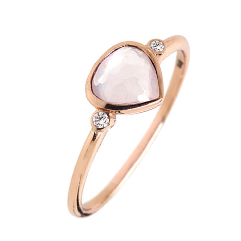 Rose Gold Vermeil Pink Quartz Ring , Sophie